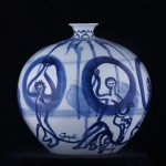 under glaze Qing Hua Ci porcelain painted porcelain Jingdezhen Jared FitzGerald contemporary porcelain Chinese Ceramic Blue and White artist art American